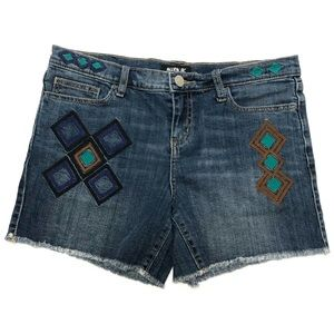 Boho Allen B Denim Cutoff Shorts Embroidered